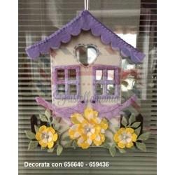 Fustella XL Casetta con tetto 3D con cuore e finestre