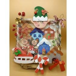 Fustella XL Natale Elfo Slitta Renna Casetta e decorazioni