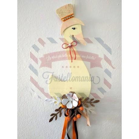 Fustella XL Oca giuliva con cappello ramo e fiore