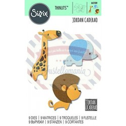 Fustella Sizzix Thinlits Baby Jungle Animals by Jordan Caderao