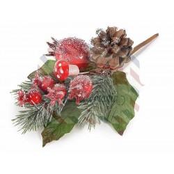 Composizione decorativa con pigna bacche rosse e funghetti