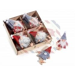 Babbo Natale in panno con perline e biadesivo set 2 modelli