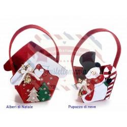 Borsetta natalizia in panno con campanelle soggetto a scelta