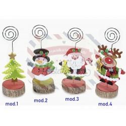 Memoclip in panno e legno con personaggio natalizio a scelta