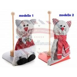 Gatto in feltro portarotolo in legno modello a scelta