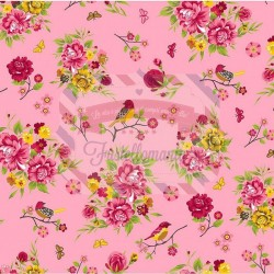Tessuto 100% cotone 45x50 cm romantic pink floral