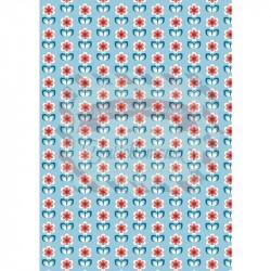 Tessuto 100% cotone 45x50 cm retro light blue floral