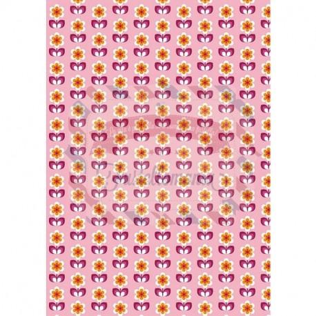 Tessuto 100% cotone 45x50 cm retro pink floral