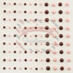 Mezze perline adesive 3-5 mm 108 pezzi rosso e rosa