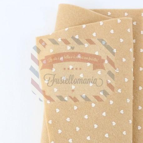 Pannolenci con cuori 50x45 cm colore beige