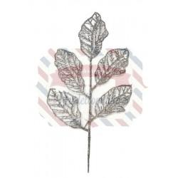 Foglia glitter colore argento 25 cm