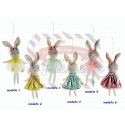 Coniglietto con vestito in tulle/velluto da appendere modello a scelta