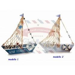 Barca in legno con rete da pesca e decori salvagente modello a scelta