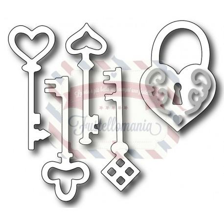 Fustella metallica chiavi con lucchetto a cuore