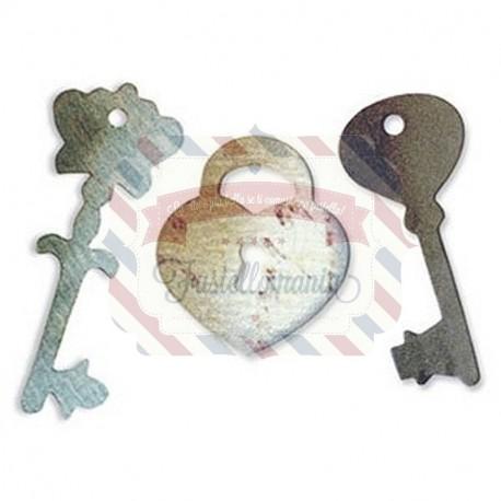 Fustella Sizzix Originals Cuore lucchetto e chiavi