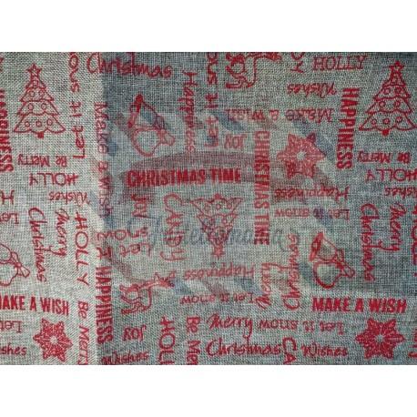 Juta stampata Christmas time 50x50 cm