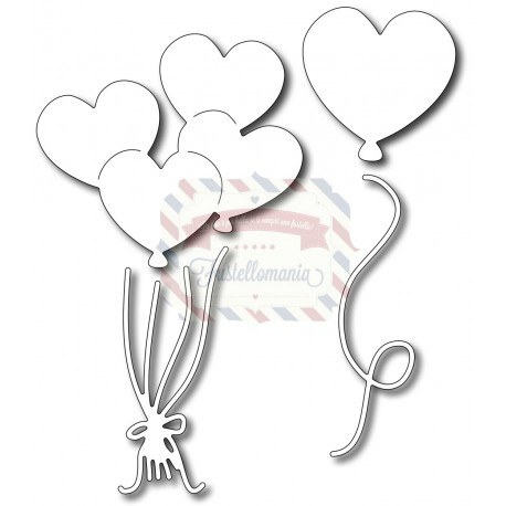 Fustella metallica Palloncini a cuore