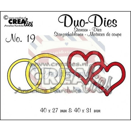 Fustella metallica Crealies Duo Double rings & hearts