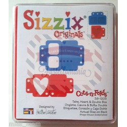 Fustella Sizzix Originals Tabs Heart and double box