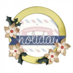 Fustella Sizzix BIGZ L Corona Wreath, Banner, Holly & Poinsettia