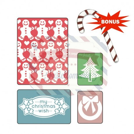 Fustella Sizzix Embossing Folders My Christmas Wish Set
