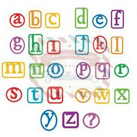 Fustella Sizzix Alphabars Alphaclips minuscolo