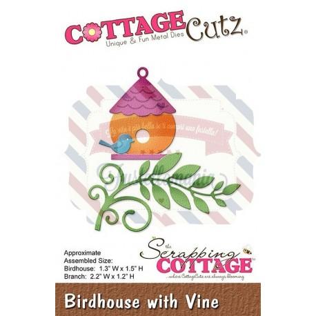 Fustella metallica Cottage Cutz Birdhouse with vine