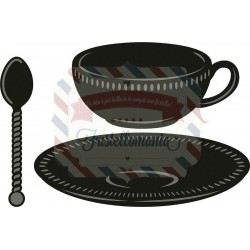 Fustella metallica Marianne Design Craftables Tea Cup with Spoon