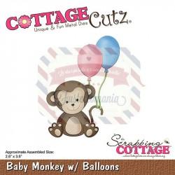 Fustella metallica Cottage Cutz Baby Monkey w/ Balloons