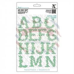 Fustella metallica Xcut A5 Floral Alphabet A-N