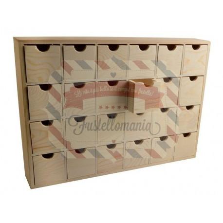 Cassettiera in legno 24 posti per Calendario Avvento