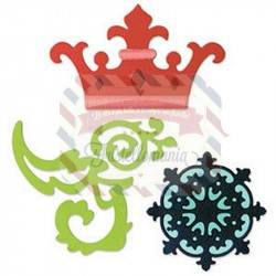 Fustella Sizzix Sizzlits Set Crown Medallion & Scrolls