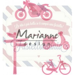 Fustella metallica Marianne Design Collectables Village Decoration Set 4 Bicycle