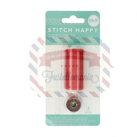 We R Memory Keepers thread stitch happy bobina colore rosso 2 pezzi 100 metri