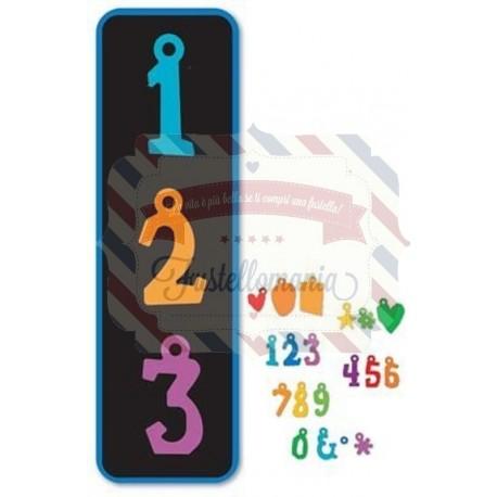 Fustella Sizzix Pigeon toed charms Alphabet numeri e simboli