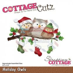 Fustella metallica Cottage Cutz Holiday Owls