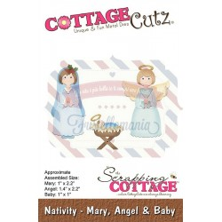 Fustella metallica Cottage Cutz Nativity - Mary, Angel & Baby